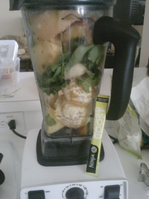 Orange, banana, spinach, tropical pack, blended boost, and protein powder